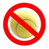 Muestra prohibida de la pelota de tenis Imágenes de archivo libres de regalías