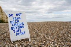 Muestra prohibida Deckchairs Fotografía de archivo libre de regalías