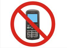 Muestra prohibida del teléfono móvil Fotografía de archivo