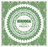 Muestra pura del verde de la naturaleza del vintage fresco del vector con el producto ecológico de la firma con el fondo abstract Foto de archivo libre de regalías