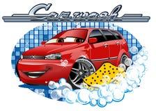 Muestra que se lava del coche con la esponja Foto de archivo libre de regalías