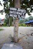 Muestra rápida del Internet en la playa Foto de archivo