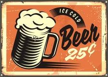 Muestra retra del pub de la cerveza helada ilustración del vector