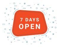 Muestra roja del ejemplo del vector siete días de abierto Ejemplos para el márketing de la promoción para las impresiones y los c libre illustration