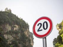 Muestra roja 20 del límite de velocidad Imagen de archivo libre de regalías