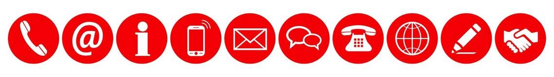 Muestra roja determinada de los iconos del contacto - vector