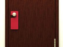 Muestra roja en blanco en la maneta de puerta Fotografía de archivo