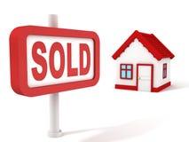 Muestra vendida del rojo del concepto de las propiedades inmobiliarias de la casa Foto de archivo