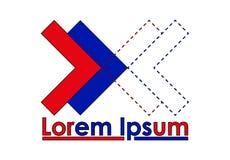 Muestra roja y azul del icono - de las flechas del lorem ipsum libre illustration