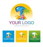 Muestra, símbolo, viaje del logotipo en las zonas tropicales Imagen de archivo