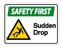 Muestra s?bita del s?mbolo del descenso de la seguridad primero en el fondo blanco, ejemplo del vector stock de ilustración