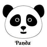Muestra simple una panda - diseñe la plantilla en el fondo blanco Foto de archivo
