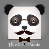 Muestra simple una panda - diseñe la plantilla en fondo negro Fotografía de archivo