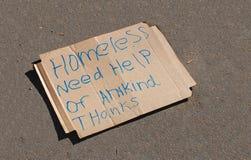 Muestra sin hogar imagen de archivo