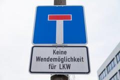 Muestra sin salida alemana del tráfico por carretera Fotografía de archivo