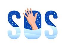 muestra SOS la mano pide ayuda en una helada terrible cubierta con nieve stock de ilustración