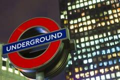 Muestra subterráneo de Londres Fotografía de archivo libre de regalías