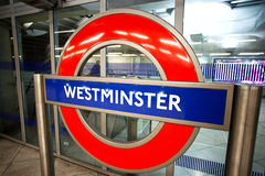 Muestra subterráneo de Londres Foto de archivo