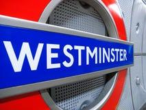 Muestra subterráneo de Westminster, Londres Foto de archivo