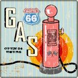 Muestra sucia retra de la gasolinera de la ruta 66 ilustración del vector