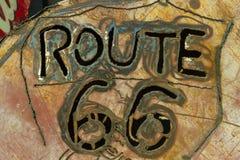 Muestra tallada del metal de Rusty Route 66 Imágenes de archivo libres de regalías