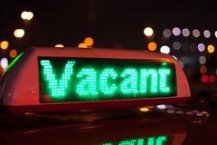Muestra vacante del taxi Fotos de archivo