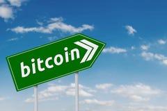 Muestra verde con palabra del bitcoin Fotografía de archivo