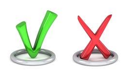 Muestra verde de la señal y marca de verificación roja de cancelación Fotografía de archivo