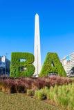 Muestra y Obelisco de Buenos Aires foto de archivo libre de regalías