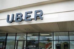 Muestra y oficina de Uber Foto de archivo libre de regalías
