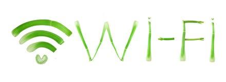 Muestra y palabra de Wi-Fi Fotografía de archivo libre de regalías