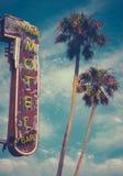 Muestra y palmas del motel Imagen de archivo libre de regalías