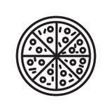 Muestra y símbolo del vector del icono de la pizza aislados en el fondo blanco ilustración del vector