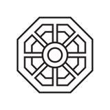 Muestra y símbolo del vector del icono del espejo del kua del PA aislados en la parte posterior blanca libre illustration