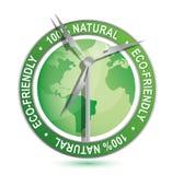 Muestra y símbolo respetuosos del medio ambiente de la energía eólica Foto de archivo libre de regalías