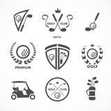 Muestra y símbolos del golf Imagen de archivo libre de regalías