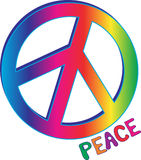 Muestra y texto de paz del arco iris ilustración del vector