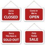 Muestras agotadas de la ejecución de la venta abierto-cerrado Foto de archivo