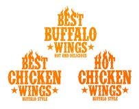 Muestras calientes de las alas de pollo. Foto de archivo libre de regalías