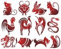12 muestras chinas del zodiaco Foto de archivo libre de regalías