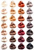 Muestras coloreadas del pelo Fotos de archivo libres de regalías