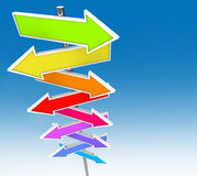Muestras coloridas de la flecha y cielo azul ilustración del vector