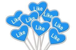 Muestras con la admiración - concepto para el medios establecimiento de una red social Fotos de archivo libres de regalías