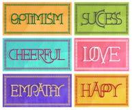 6 muestras con las letras decorativas optimistas en colores en colores pastel Imágenes de archivo libres de regalías