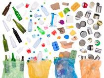 Muestras de basura que pueden ser recicladas Imágenes de archivo libres de regalías
