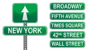 Muestras de calle de Nueva York Imagen de archivo libre de regalías