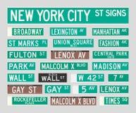 Muestras de calle de Nueva York Fotos de archivo libres de regalías