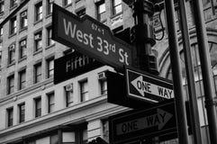 Muestras de calle de Nueva York Fotografía de archivo