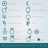 Muestras de cuerpos celestes y días de semana en modo ilustración del vector