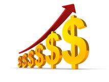 Muestras de dólar con la flecha, creciendo concepto